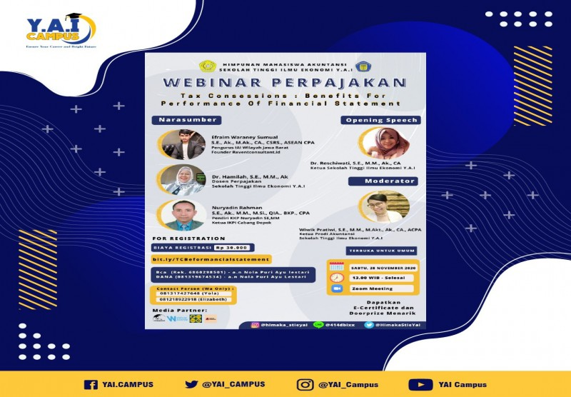 "Webinar dengan tema: ""Tax Concessions: Benefits for Performance of Financial Statement"""